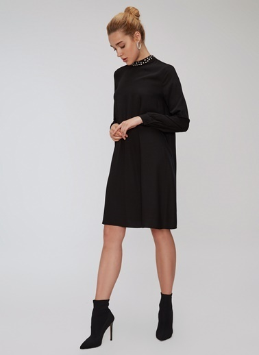 People By Fabrika Yakası Detaylı Elbise Siyah